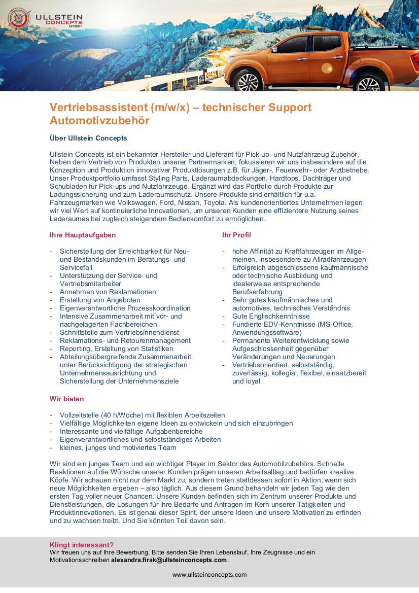 Ausschreibung Vertriebsassistenz technischer Support Automotivezubehör